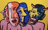 mensen-met-maskers-schilderij-painting